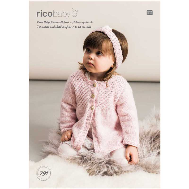 Rico Baby Dream Uni DK 791 Cardigans and Headband