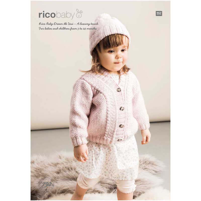 Rico Baby Dream Uni DK 792 Cardigan and Hat