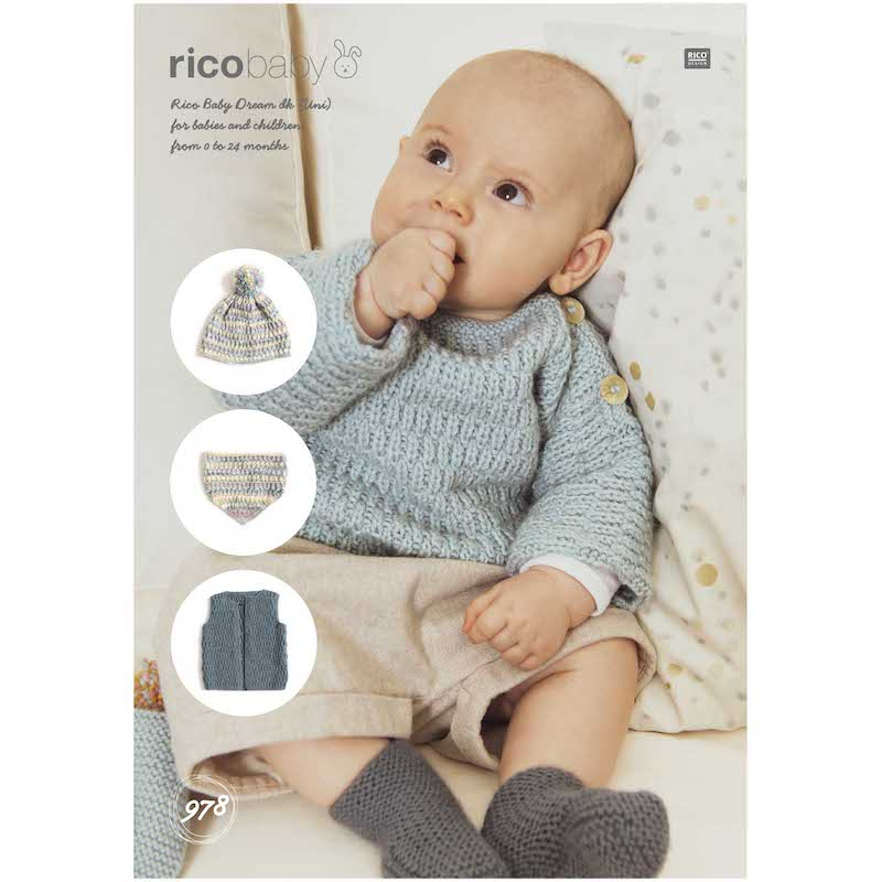 Rico Baby Dream Uni DK 978 Sweater, Vest, Hat & Shawl