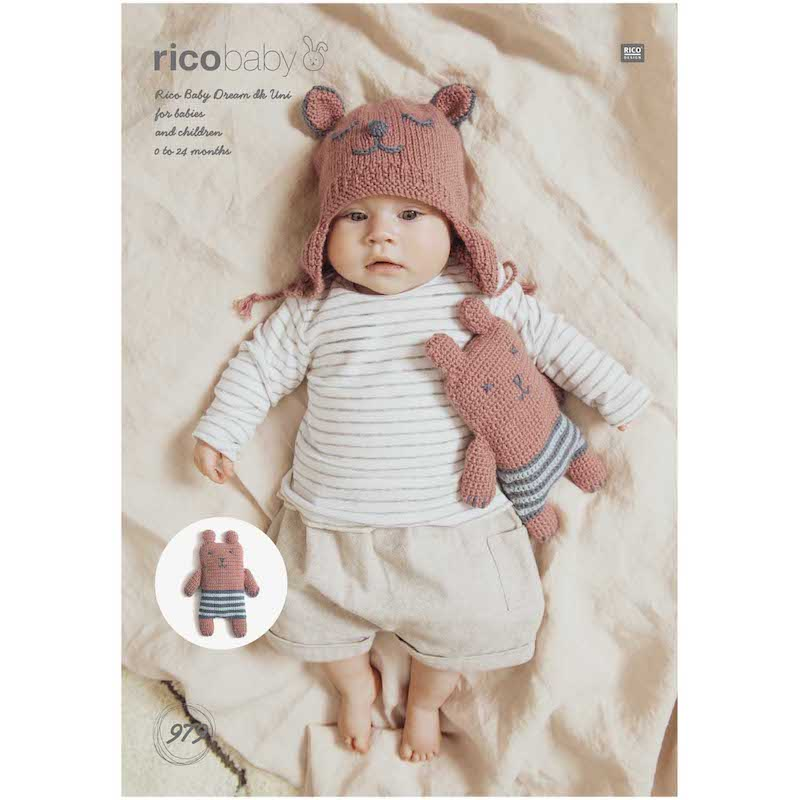 Rico Baby Dream Uni DK 979 Hat and Teddy Bear