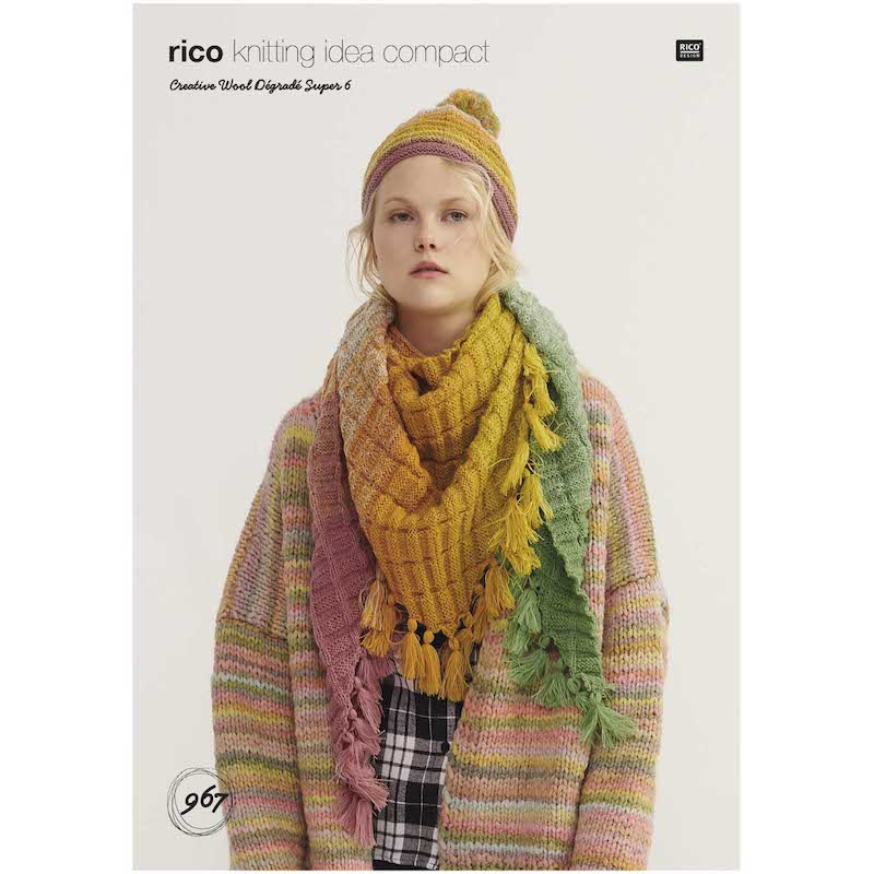 Rico Creative Wool Degrade Super 967 Hat and Triangular Shawl
