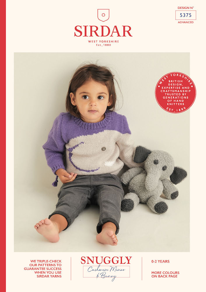 Sirdar Snuggly Cashmere Merino & Bunny 5375 Sweater & Elephant