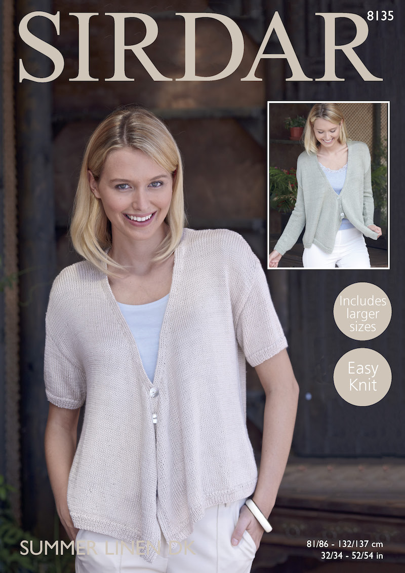 Sirdar Summer Linen DK 8135 Cardigan with Draped Fronts