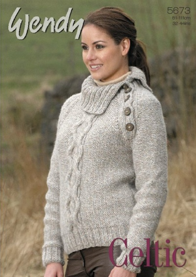 Wendy Celtic Chunky 5673 unisex cable sweaters and hat