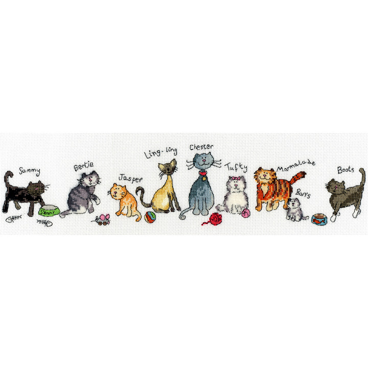 Bothy Threads Row of Cats Cross Stitch Kit