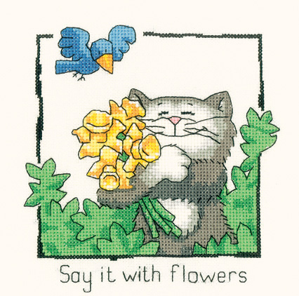 Cats Rule Say it with Flowers (evenweave)