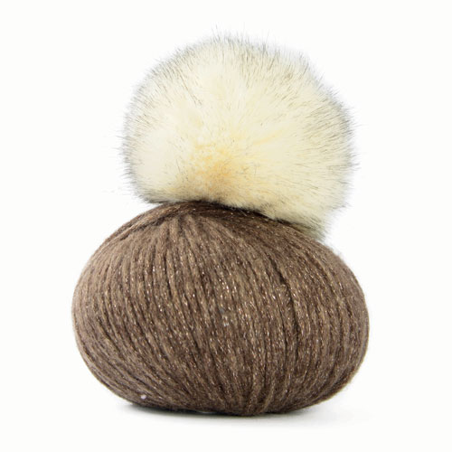 Mondial Lady Lame PomPom Hat yarn, 583 beige